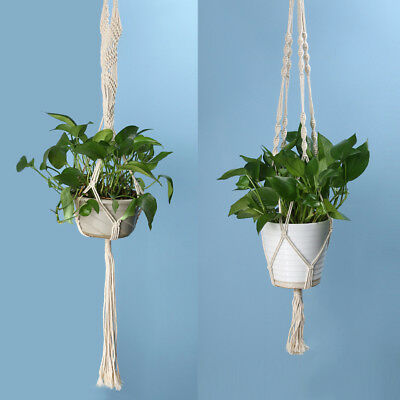 Vintage Knotted Plant Hanger Basket Green Flowerpot Macrame Lifting Rope Plant H