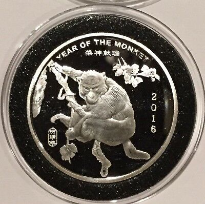 2016 Year Of The Monkey Chinese Zodiac 1/2 Troy Oz .999 Fine Silver Round Coin