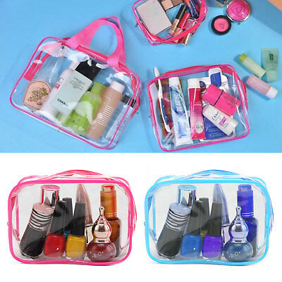 3PCS Waterproof Clear Cosmetic Toiletry PVC Travel Wash Makeup Bag Pouch Set