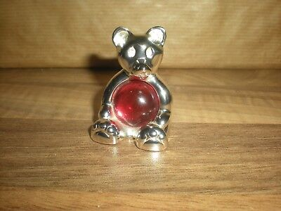 Lovely Christofle Silver Plated  Lumiere Collection ' Teddy Bear  With  Glass