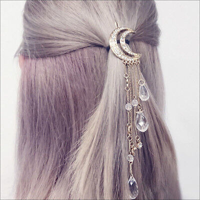 2017 New Charming Gold/Silver/Black/Rose Gold Color Crystal Moon Hair Clip Tasse