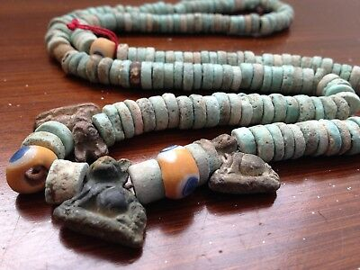 Ancient Egyptian clay, faience bead necklace 664-332 BC Islamic Eye Beads