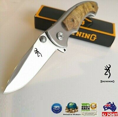 Browning 337 Folding Pocket knife outdoor knives camping Flipper AU stock silver