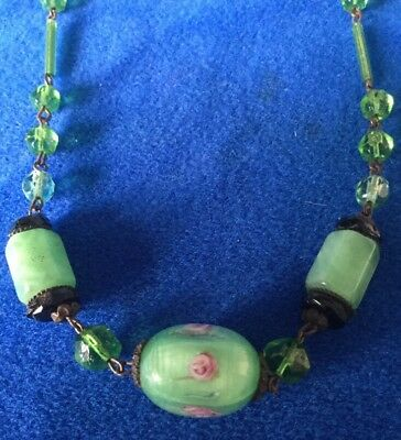 Antique Art Deco Czech Green Satin Rose Glass Necklace - bridal Jewellery