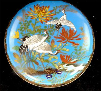 N214 Antique Japanese Meiji Cloisonne Circular Box & Cover Herons