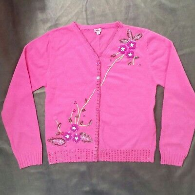 Vintage  Monsoon Pure Wool Pink Beaded Cardigan-Girls Size 10-12 yrs