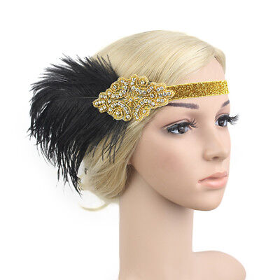Kmvexo Indian Style Black Feather Crystal Beaded Flapper Headpiece Wedding Brida