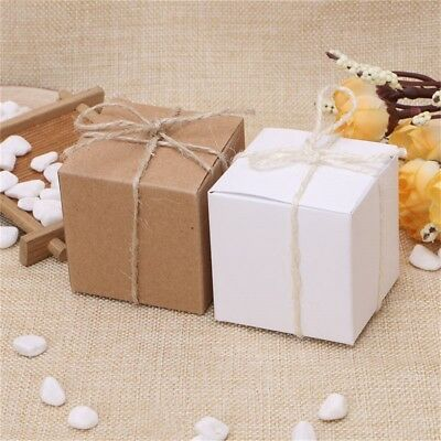 50PCS Kraft Paper Square Chocolate Candy Gift Boxes Wedding Party Favor Bo Uskt