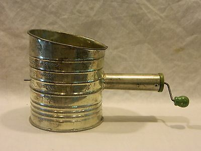 Vintage Country Kitchen Bromwell's 5 Cup Measuring Sifter Green Wood Knob Usa