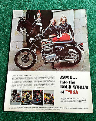 Original 1968 Bsa Motorcycle Magazine Ad 650 Thunderbolt London Poster