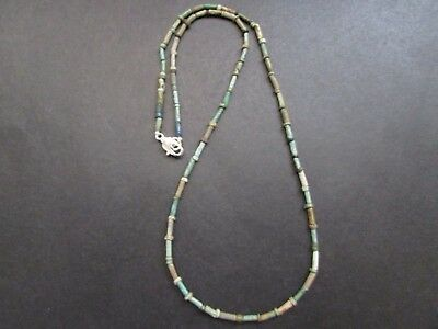 NILE  Ancient Egyptian Faience Amulet Mummy Bead Necklace ca 600 BC