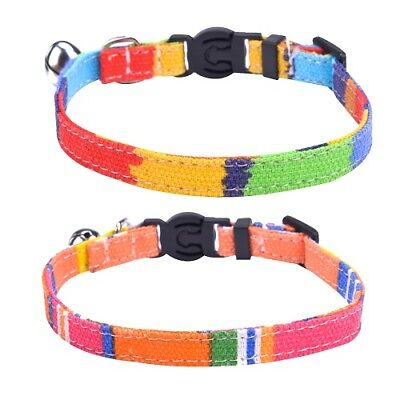 Rainbow Break Away Adjustable Safety Cat Collar with Silver Bell - 20-25cm