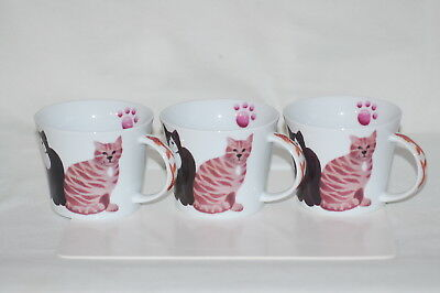 Three (3) Cat Mugs Cups - with 5 Cats, Paw Print Inside and 3 Goldfish on Handle