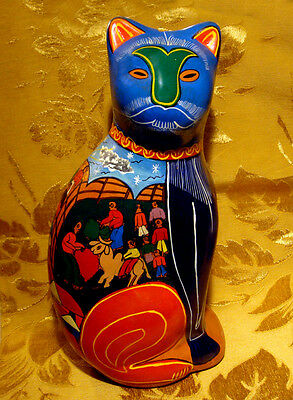 Vintage Ceramic Cat Piggy Bank Mexican Folk Art Hand Painted Signed
