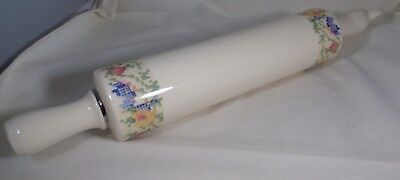 "1940s Ceramic Rolling Pin Petit Point Pattern 15"" Long No Chips Some Crazing"