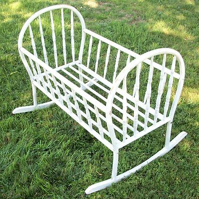 antique cradle bent wood white - local pickup only