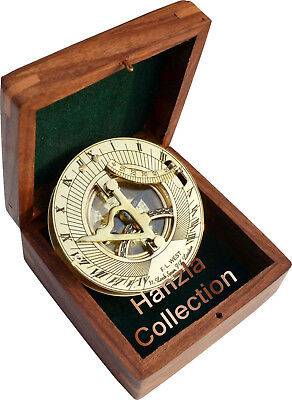 Vintage Maritime West London Polished Brass Sundial Nautical Compass With Box