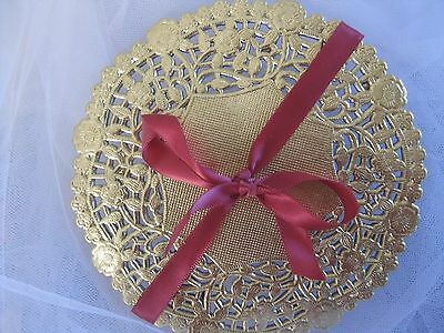 """4"""" 5"""" 6"""" 8"""" 10"""" 12"""" IN GOLD PAPER LACE DOILY SHINY 10 25 50 100 FASTSHIP charger"""