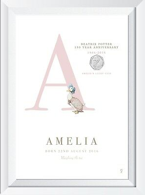 Personalised Peter Rabbit Beatrix Potter Coin baby name CRYSTAL PRINT gift