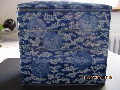 Antique Japanese Porcelain Blue And White Multi-Layer Stacking Box