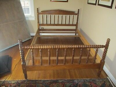 Antique Jenny Lind Full Size Bed Walnut Finish VERY NICE CONDITION + Mattress