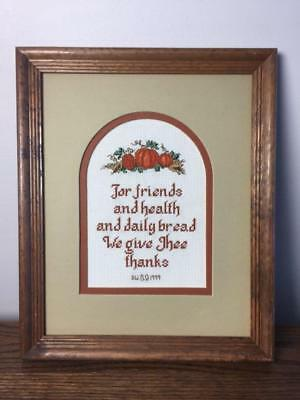 WE GIVE THEE THANKS Pumpkins Autumn Framed Embroidery Needlepoint Cross  Stitch
