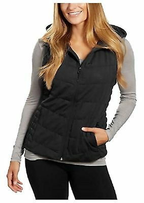 BE BY BLANC NOIR Women's Hooded Quilted Vest XL Charcoal NWT