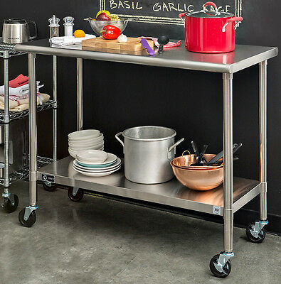 Rolling Stainless Steel Work Table Cart Kitchen Dining Portable On Wheels Large