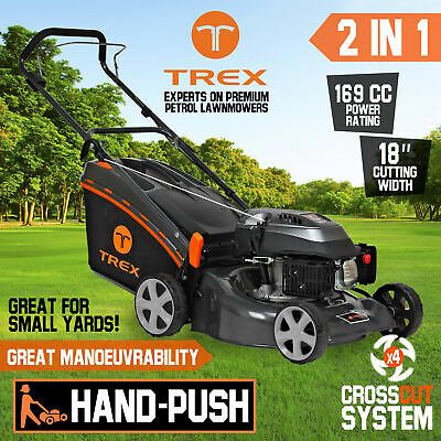 "NEW TREX Lawn Mower Hand Push 169cc 18"" Lawnmower 4 Stroke Catch Mulch 2 in 1"