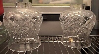 Stunning Quality Pair Of Beautiful Hand Cut 24% Lead Crystal Lamp Shades