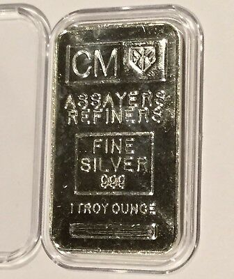 CM Assayers & Refiners Consolidated Bar 1 Troy Oz .999 Fine Silver Ingot Medal