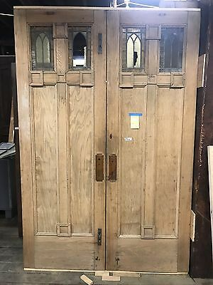 Antique Arts And Crafts Doors Rescued From Church Fire 8 Ft X 5ft. Restorable