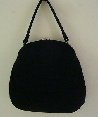 Vintage Lewis Black Felted Wool Purse Handbag with Mirror and Comb