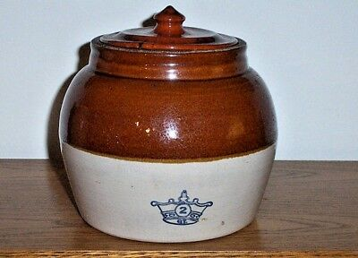 Vintage/Antique Robinson-Ransbottom Blue Crown USA 2 QT One Handle Stoneware Bea