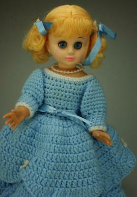 "Hard Plastic 13"" Doll with Voice Box Sleeping Eyes Hand Crocheted Dress SA264"