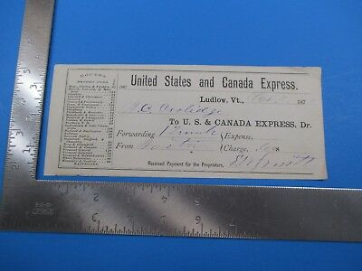 Antique 1873 United States and Canada Express Received Payment Receipt VT S4275