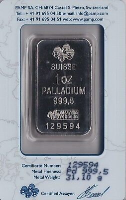 1 Ounce PAMP Suisse Palladium Bar, In Assay. Free Shipping.