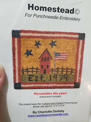 Charlotte Dudney HOMESTEAD punch needle pattern and cloth