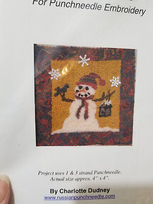 Charlotte Dudney LET IT SNOW snowman Christmas punch needle pattern and cloth