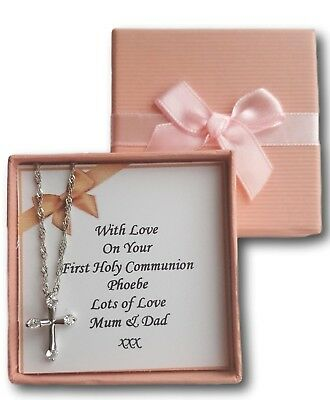 Girls First Holy Communion Necklace Cross With Personalised Card & Box Present