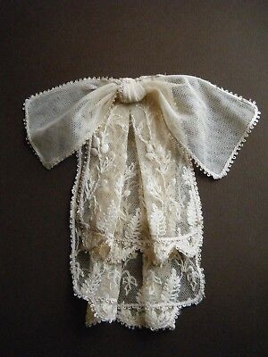 19c Antique Vintage JABOT &Bow embroidered net lace Ladies Collar Ecru H made