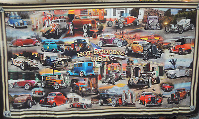 Hot Rod Fabric Panel by Larry Grossman for Quilting Treasures   24x44