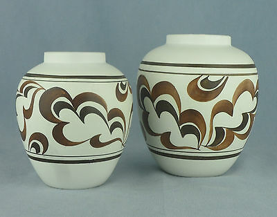 LOVELY MATCHING PAIR OF VASES  E RADFORD ENGLAND 1950s HAND PAINTED
