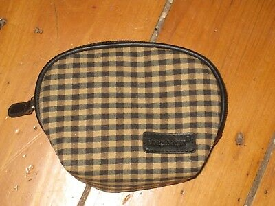 Longaberger Khaki Check Sm Small Fabric Change Coin Purse Pockets Mirror New