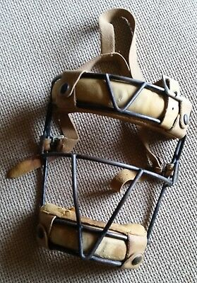 Vintage Baseball Catcher's Mask - 1930s/40s - Leather - Metal Cage - Horsehair