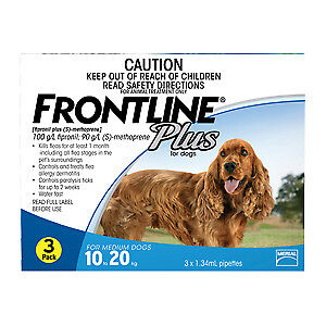 Frontline Plus for Dogs Medium Dogs 10kg to 20kg  (3 PACK)