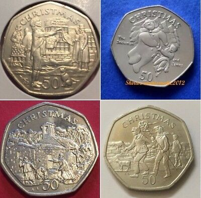 1980 -2016 ISLE OF MAN 50p Christmas coins fifty pence coin