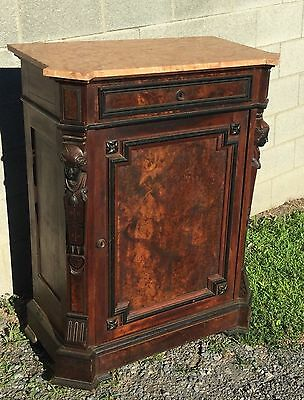 19th c. RENAISSANCE WALNUT AND BURL MARBLE TOP CABINET