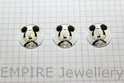 2 x Mickey Mouse 12x12mm Glass Cabochons Cameo Dome Walt Disney Minnie Retro