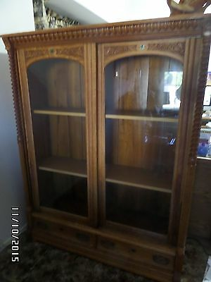 Antique Vintage Curio Display Cabinet - China Cabinet-Solid Oak Cabinet - 1800's